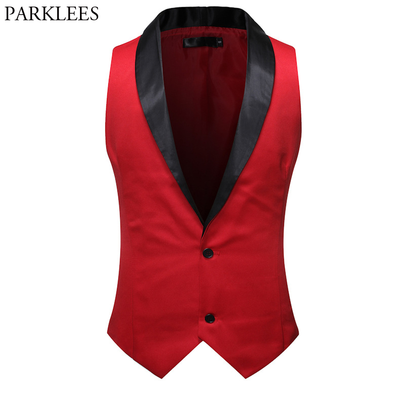 Red Wedding Groom Tuxedo Vest Men 2020 Brand Shawl Collar Slim Fit Dress Vest Waistcoat Mens Party Casual Chalecos Para Hombre