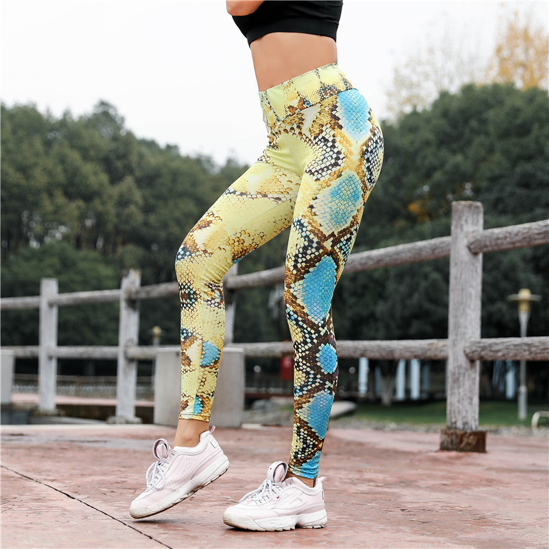 Women Serpentine Print Skinny Leggings Sports Multi colors Gym Outdoors Trousers High Waist Workout Fitness Leggings 7Colors