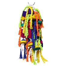 Parrot Swing Chewing Toys Bells Bird Perch with Natural Wood Beads Delight for bird toy