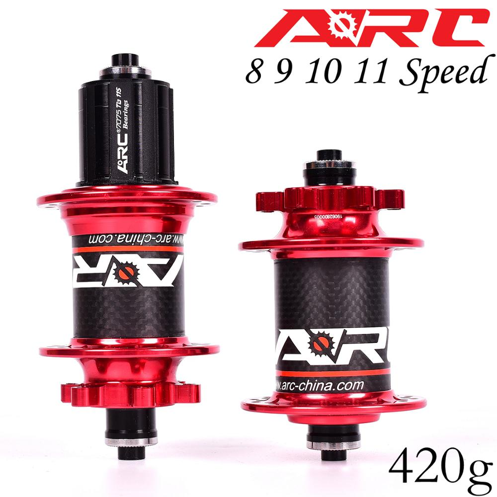 ARC Carbon Fiber MTB Hub Mountain Bike Hubs 4 Bearing 6 Pawls 114 Click 8 9 10 11 Speed Bicycle Hub 135*10MM 142*12MM 32 Holes