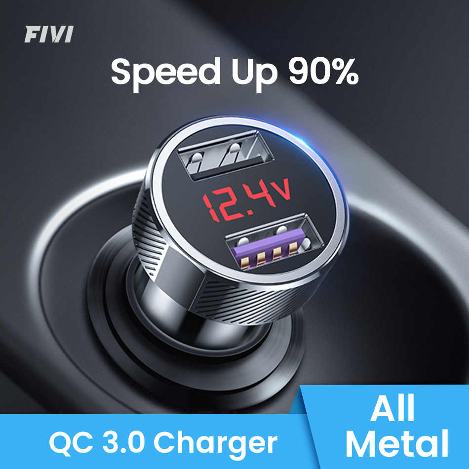 FIVI auto oplader voor mobiele telefoon Fast charger QC 3.0 Digitale LED Voltage Display usb oplader voor samsung xiaomi iphone huawei