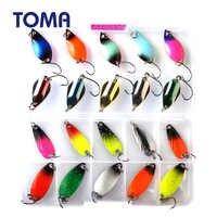 TOMA cuchara pequeña de Metal Kit de Señuelos de Pesca conjunto de colores mezclados 2,5g 3g 5g Isca Artificial señuelo para trucha manivela cebo pesca aparejos de pesca