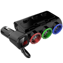 Car Charger Digital Display With Voltage Measurement Three In One Multifunctional Cigarette Lighter Colorful Lights Dual USB