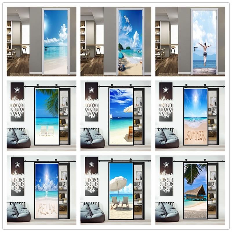 New Seaside Landscape Door Sticker Renew Home Decor Waterproof Vinyl Self Adhesive Wallpaper Removable Mural Decal Deursticker