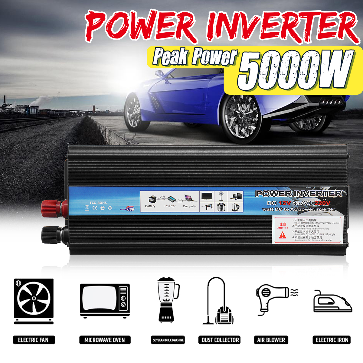 KROAK Car <font><b>Inverter</b></font> 12V 220V 5000W Pe ak Car Power <font><b>Inverter</b></font> Voltage Transformer Converter 12V To 220V Solar Inversor Black Style image