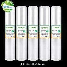 Vacuum Bags for Food 5 Rolls 28*300CM Vacuum Sealing Food Fresh Saver Bags Packaging Machine Food Storage Packer Bags R123