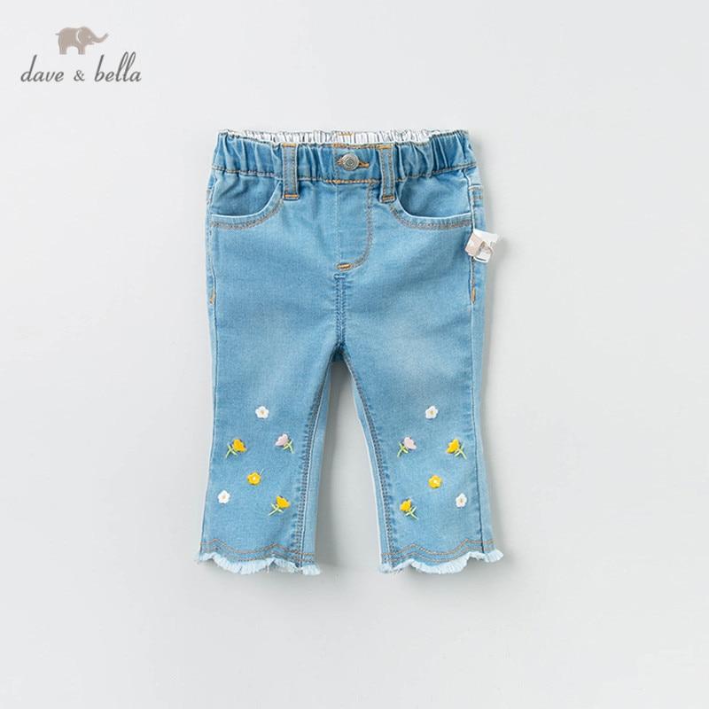 DBM12839 dave bella spring baby girls fashion floral pockets pants children full length kids pants infant toddler solid trousers
