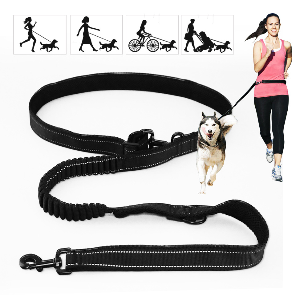 DOCON Multi-functional Dog Hand Holding Rope 2 M Reflective Proof Punch Buffer Rope Double Distraction Adjustable Length Tractio
