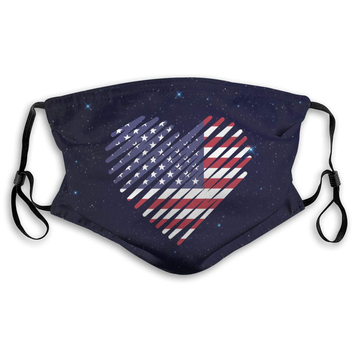 Love American Flag Heart Anti Dust Half Face Mouth Mask With PM2.5 Filters 5 Layers Of Protection For Men Women Black