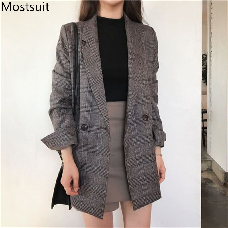 Plus Size Plaid Korean Women's Blazers Jackets Long Sleeve Notched Vintage Casual Fashion Coats 2019 Autumn Winter Coffee Grey