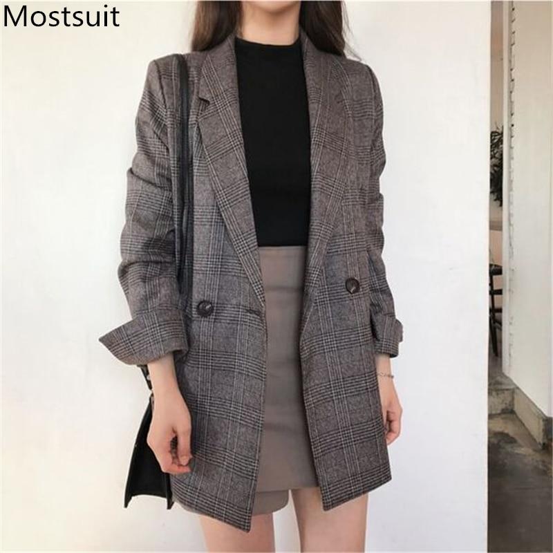 Plus Size Plaid Korean Women's Blazers Jackets Long Sleeve Notched Vintage Casual Fashion Coats 2019 Autumn Winter Coffee Grey