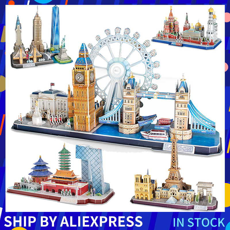 Large Set 3D Three-dimensional Puzzle Word Famous Buildings Architecture Puzzle Educational DIY Toy Gift For Children