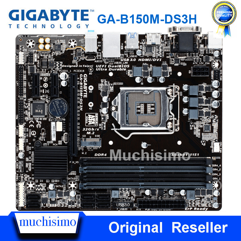 GIGABYTE GA-B150M-DS3H Desktop Motherboard LGA1151 DDR4 32G Micro-ATX B150M-DS3H B150M DS3H USB3.0 SATA3 Used Original Mainboard