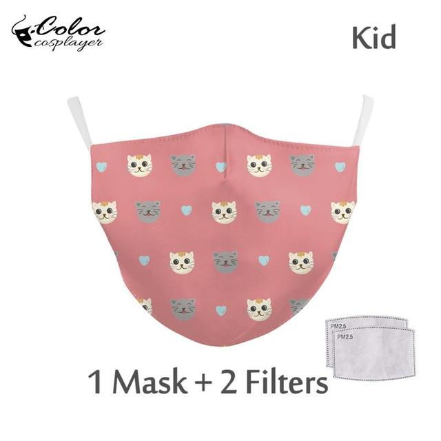 Color Cosplayer Kids Cartoon Face Fabric Masks Pink Cute Cat Print Mask Washable Reusable Children Mask Outdoor 1