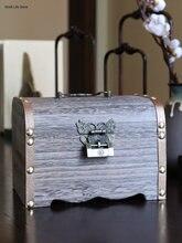 Копилка деревянная в стиле ретро Сейф для хранения монет винтажная