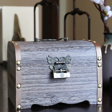 Alcancía de madera Retro con caja de almacenamiento de dinero con cerradura, alcancía de moneda segura, alcancía Vintage de ahorro para papel, alcancía FP045