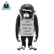 Street Art Sculpture-Monkey Sign Banksy Luxurious Resin Craft Modern Home Decoration Accessories Gifts