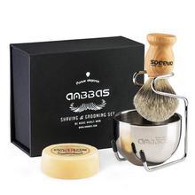 Anbbas Shaving Brush Set 4pcs Pure Badger Hair Brush Wood Handle Goat Milk Soap Stainless Steel Shaving Stand Bowl Kit Men Gift