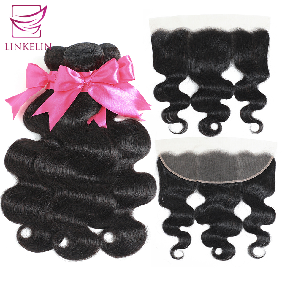 LINKELIN HAIR Human Hair Bundles With Frontal 13*4 Pre Plucked Lace Frontal Remy Brazilian Body Wave Bundles With Frontal