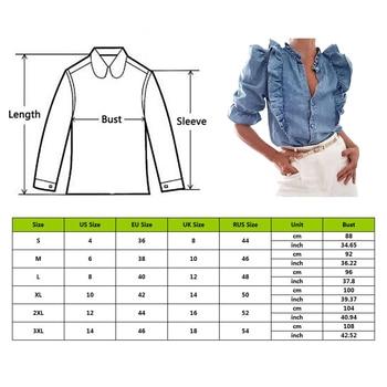 LASPERAL High Street Cascading Ruffles Puff Sleeve Denim Blouse Women Blusas Mujer De Moda 2020 Shirt Womens Tops And Blouses 2
