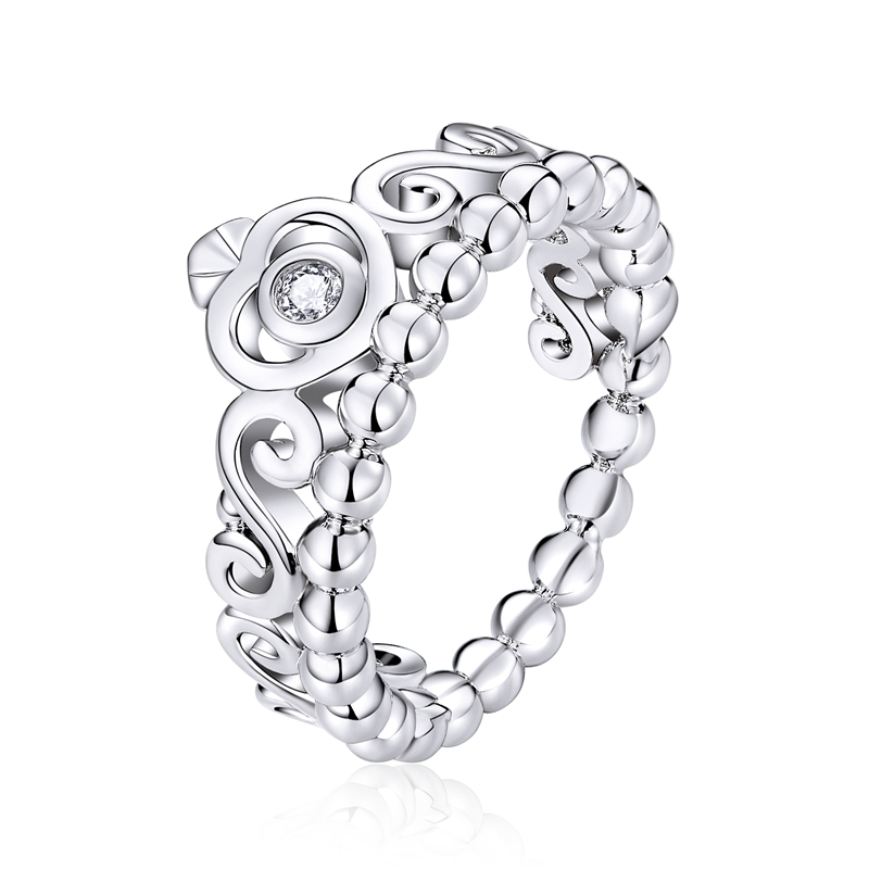 Hot Sale Fashion Queen Crown Wedding Rings With Crystal For Women Engagement Party Luxury Jewelry Ring Finger Gift FB7224