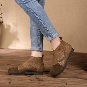 2019 Short Boots Woman Head Cowhide Leisure Flat Bottom Women's Shoes