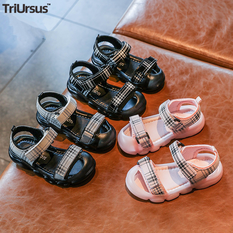 2020 Kids Summer Shoes For Girls PU Leather Baby Girls Plaid Sandals Little Girl Beach Shoes Velcro Toddler Girl Summer Shoes