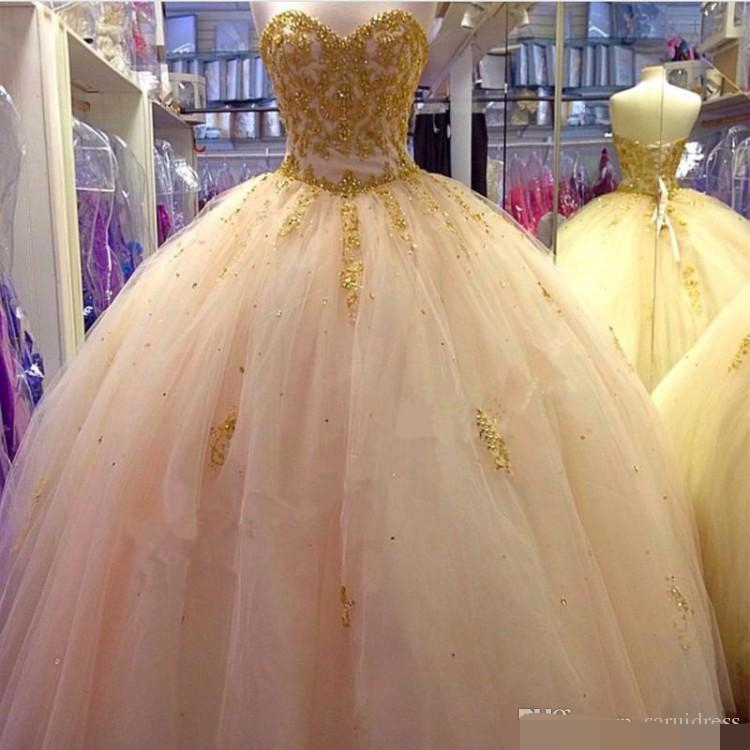 Sweetheart Quinceanera Dresses Gold Beading Appliques Floor Length Ball Gown Sweet 16 years Party prom dress vestidos de 15 anos
