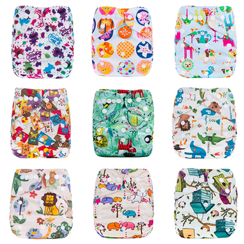 New Eco-friendly Print Diaper Pocket Baby One Size Reusable Cloth NAPPY Cover Wrap To Use With Flat or Fitted Nappy Diaper lecy eco life one size sleeve diaper with color tab square tab baby reusable nappy with stay dry suede cloth inner wholesale
