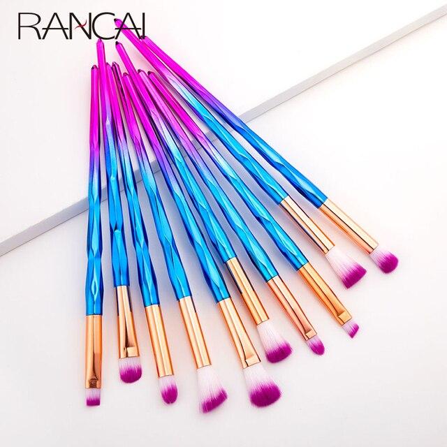 RANCAI 10 pcs Makeup Brushes maquiagem maquillaje New Mermaid Foundation Eyebrow Eyeliner Cosmetic makeup Brushes Complete Kit 5