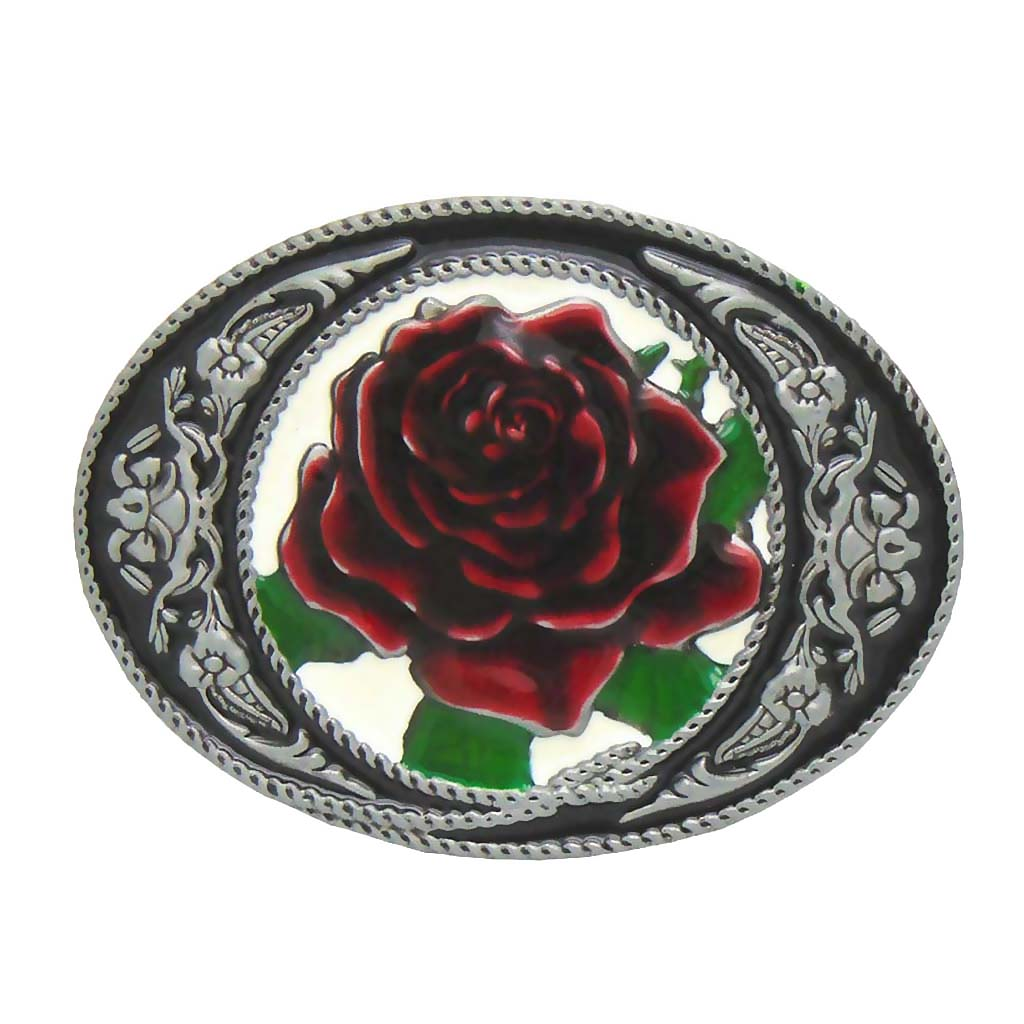 Big Red Rose Western Zinc Alloy Belt Buckle Cowgirl Women Ladies Gift