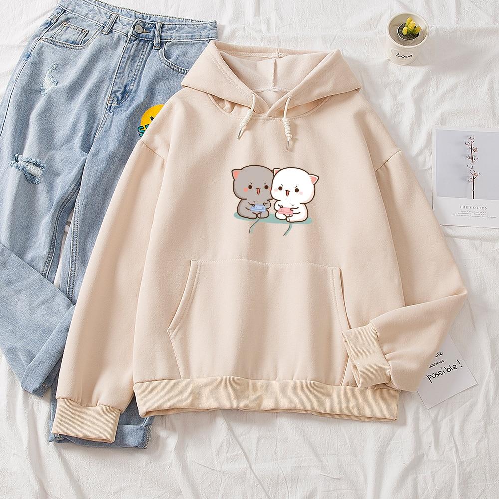Cute Cat Printed Hoodies Women Autumn Loose Sweatshirt Female Itself Harajuku Kawaii Hooded Pullover Thicken Couple Coat 7