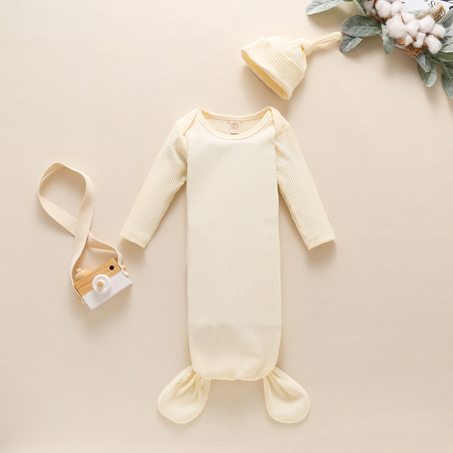 Toddler Newborn Baby Sleeping Bag Sacks Infant Solid Ribbed Long Sleeve Blanket Swaddle Wrap+Hat 2pcs Baby Bedding Clothes 4