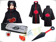 Anime Uchiha Itachi Cosplay Costume Halloween Akatsuki Ninja Wind Coat Cloak Anime Cosplay Costume