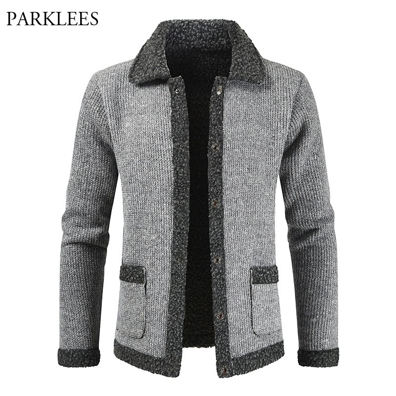 Plus Velvet Cardigan Sweaters Men 2020Winter Thicken Warm Mens Sweater Jacket Coats Casual Slim Fit Knitted Patchwork Cardigans
