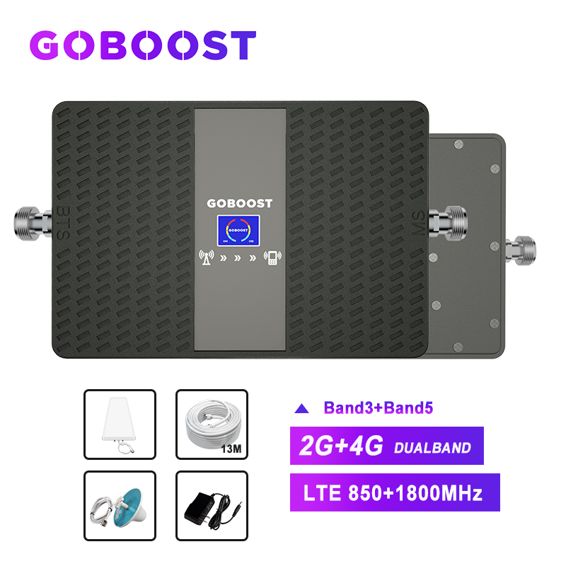 Signal Booster 850 1800 Cellular Signal Booster 2G 4G LTE 70dB CDMA 850mhz Mobile Phone Signals Booster Repeater Antenna *