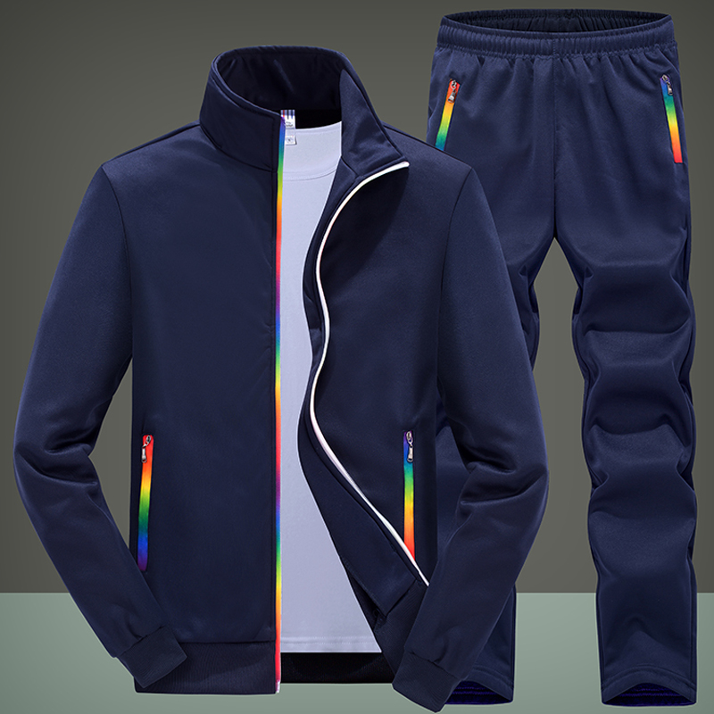 New Men's Sportswear Sets Male Casual Training Tracksuit Men 2 Piece Fleece Sweatshirt + Sweatpants Running Joggers Sports Suit