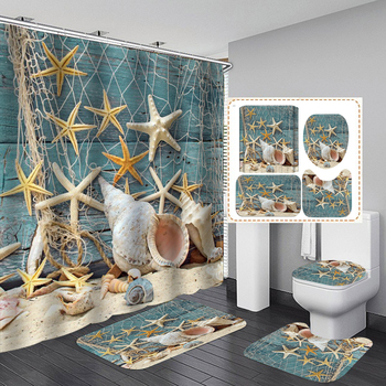 Starfish Shell Fabric Shower Curtain Bathroom Curtains Sets Non Slip Beach Style Pattern Toilet Polyester Cover Mat Set