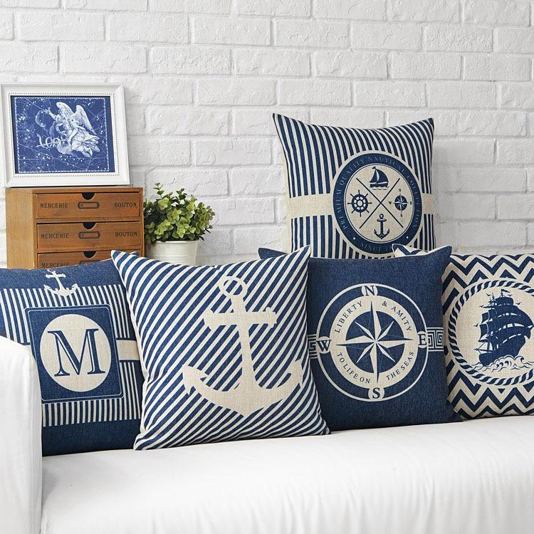 Mediterranean Sea Blue Compass Anchor Pillow Cover Home Decorative Pillows Marine Ship Linen Pillow Case Cushion Cover