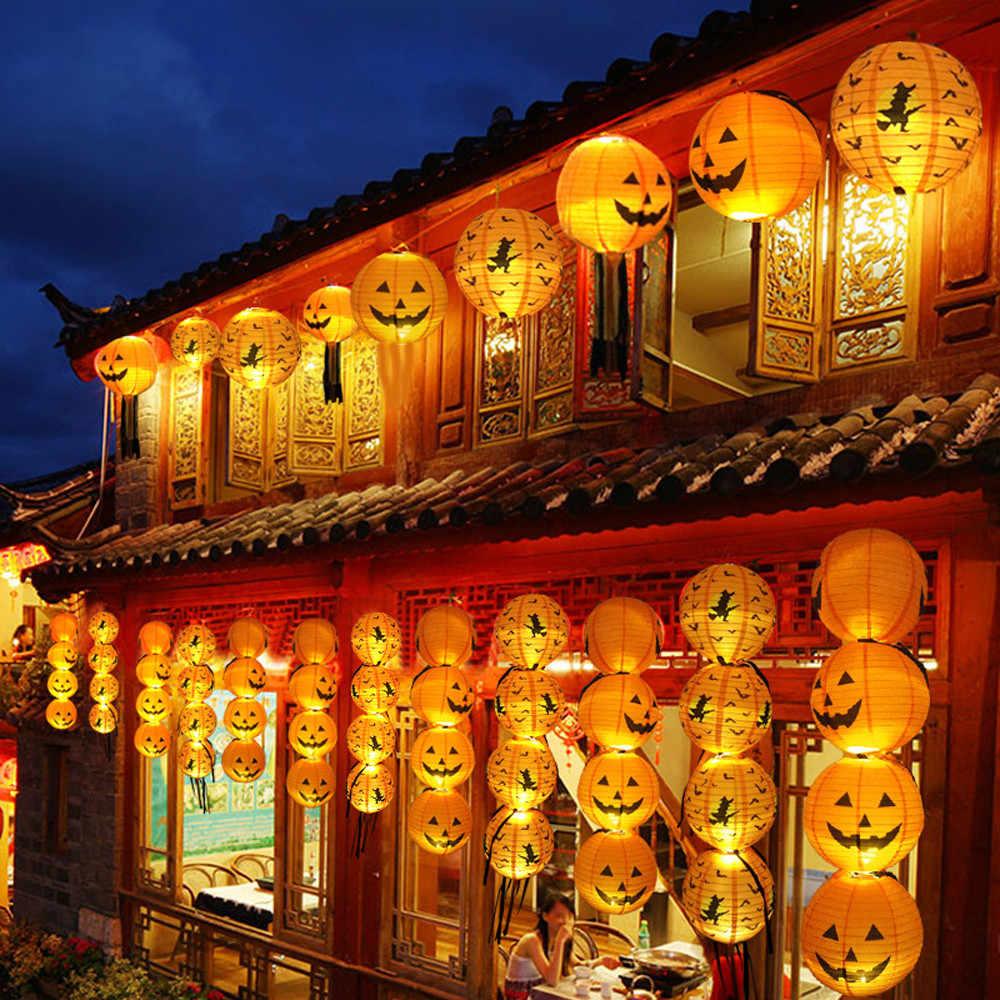 2019 nowy Halloween latarnia dyni wiszące papieru lampion w kształcie dyni DIY Holiday Party Decoration powiesić straszny Halloween latarnia