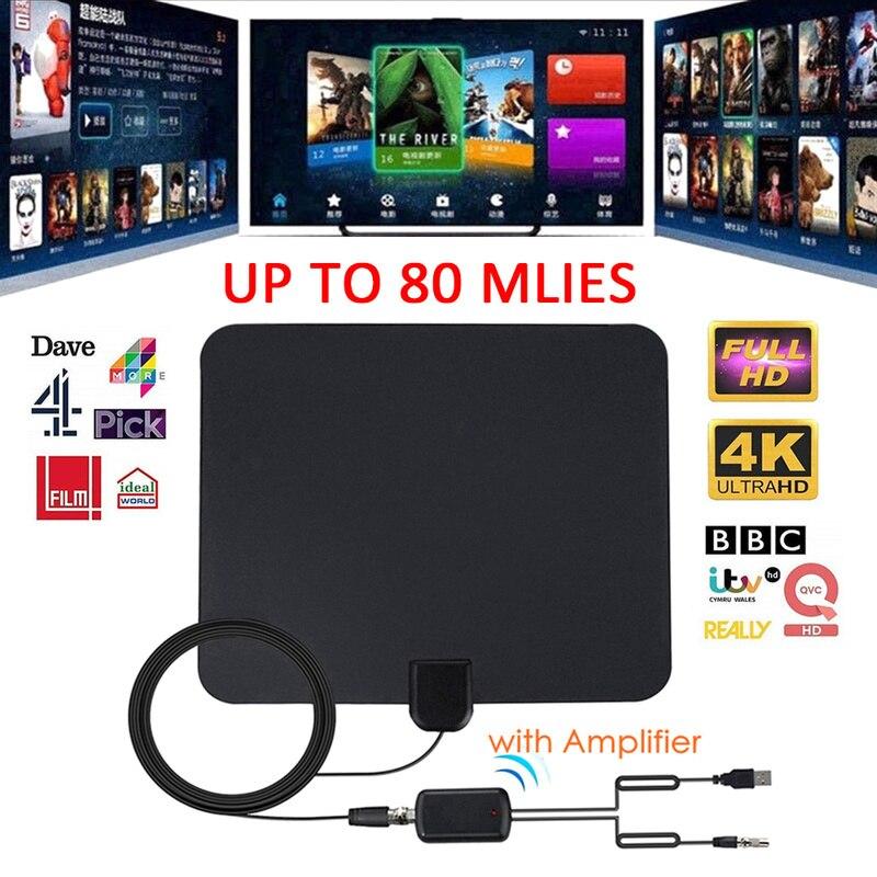 4K 28DBI haut Gain 1080p HD TV DTV Box antenne de télévision numérique 200Miles Booster actif intérieur antenne HD conception plate