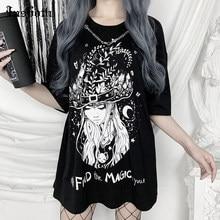 InsGoth Vintage büyük boy T-shirt gotik anahtarı baskı gevşek kadın siyah üst T-shirt Streetwear Casual o-boyun Punk uzun Tops