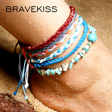 BRAVEKISS Multilayer Beach Pendant Vintage Handmade Anklets New Stone Beads Anklet Bohemian Bracelets On Leg BOHO Jewelry PA0037