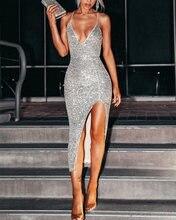 2020 осеннее сексуальное Макси платье с v образным вырезом элегантное