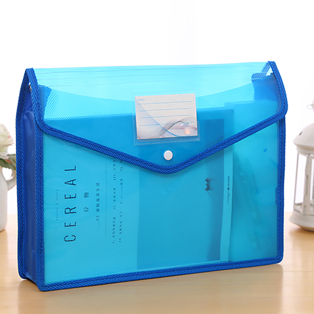 A4 Transparent Large Capacity School Storage Test Paper Document Holder Button File Bag Portable Waterproof Office Stationery