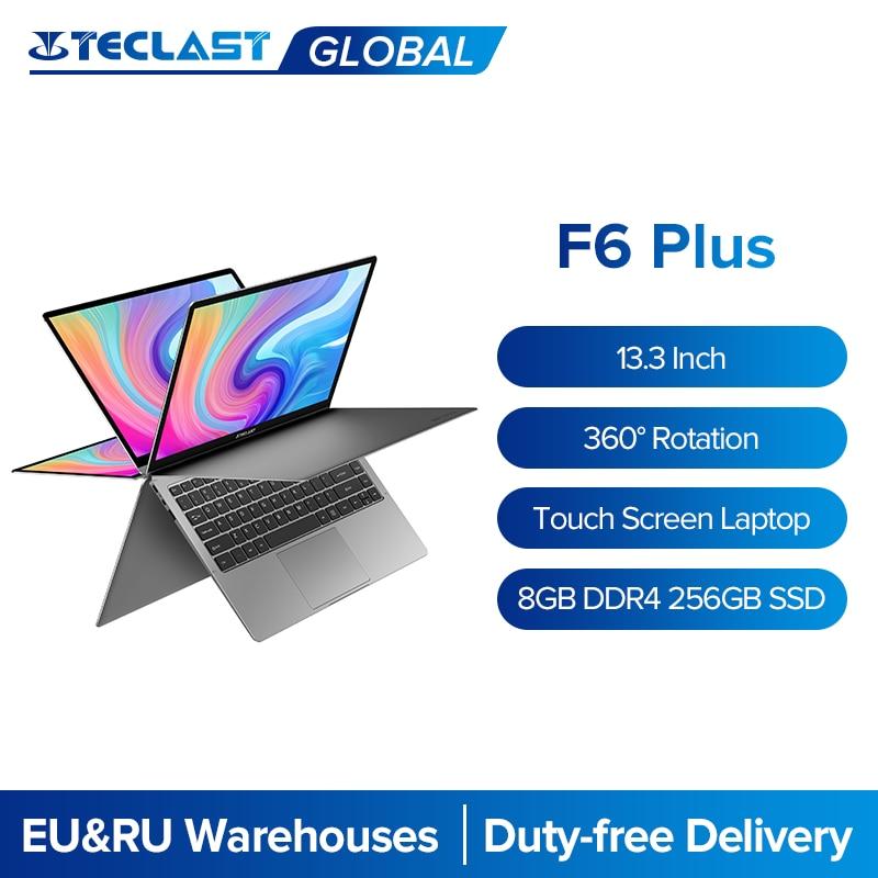 Teclast ordinateurs portables F6 Plus 13.3 pouces ordinateur portable Gemini Lake 8GB LPDDR4 256GB SSD Windows 10 ordinateur portable 360 Rotation écran tactile ordinateur