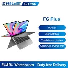 Teclast laptops f6 plus 13.3 Polegada notebook gemini lago 8gb lpddr4 256gb ssd windows 10 computador portátil 360 rotação da tela de toque