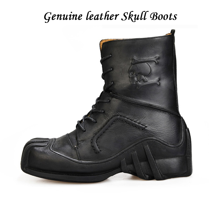 Men's Genuine Leather Lace-up Military Boots Bikers Motorcycle Boots First layer leather combat boots Gothic Skull Punk Boots
