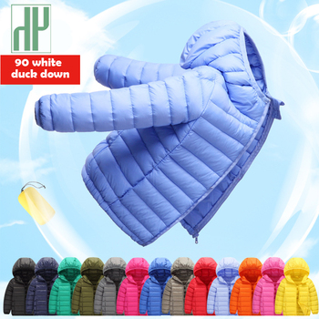 1 4 7 12 14 años chaqueta de invierno abrigo de los niños 90% pluma de pato ligero de otoño de los niños chaquetas de las muchachas del bebé parka ropa de abrigo
