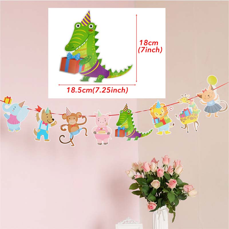 Cute Happy Birthday Bunting Banner Cartoon Animals Hanging Garlands Zoo Theme Birthday Party Flag Banners For Boy Girl Kids Gift in Banners Streamers Confetti from Home Garden